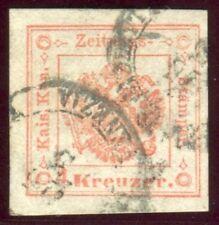 1858 ASI Lombardo Veneto Segnatasse per Giornali 4 kr. usato SPL cert. Bolaffi