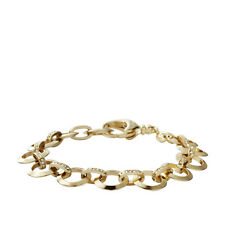 FOSSIL GOLD TONE ROUND LINKS+PAVE CRYSTAL CHARM STARTER CHAIN BRACELET JA5612710