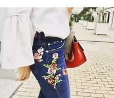 Zara Embroidered Crop Boot cut Jeans Size UK 8 BNWT