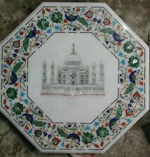 2' white marble table top taj mahal coffee center inlay lapis pietra dura w114