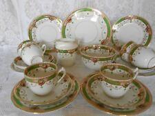 Vintage Edwardian China Tea Set Green Gold Gilt Pink Florals Weddings/ Partys