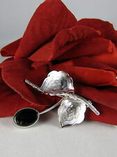 Gorgeous Silver tone Black Flower Pin Brooch  CAT RESCUE