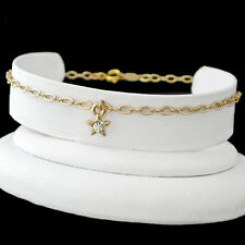 """ALL LENGTHS 9""""-14"""" CRYSTAL STAR CHARM FANCY OPEN link 14K GOLD EP Anklet Chain"""