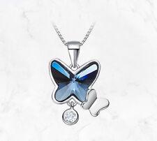Lujo Collar 925 Plata de Ley Mariposa con Swarovski Cristales
