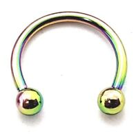 Titanium Circular CBB Horseshoe Bar Body Piercing 16g (1.2mm) Rainbow g23 k pop