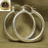 Womens 925 Sterling Silver Elegant Round Shaped Pierced Hoop Earrings