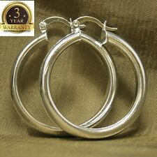 Round Shaped Pierced Hoop Earrings Womens 925 Sterling Silver Elegant