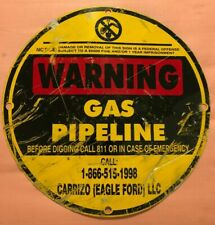 "Warning Gas Pipeline Metal Sign 11.75"" Texas Oil Gas Carrizo Eagle Ford Site"