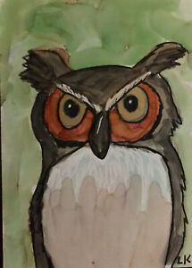 "ACEO art PRINT bird OWL on green by Lynne Kohler 2.5x3.5"""