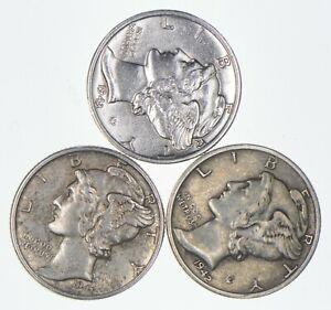 Lot of 3 AU/Unc 1943-D, 1941, 1942 Mercury Dimes 90% Silver Collection *231