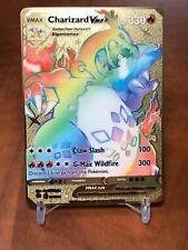 ☆☆☆ Pokemon Charizard VMAX Rainbow Glurak Metall Gold Karte English ☆☆☆