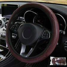 Wine Red Car Steering Wheel Cover Soft Leather Breathable Anti-slip 38cm/15''