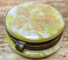Yellow Vaseline Glass Spatter Gold Enamel Design Antique Patch Powder Box Hinged