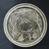 """VINTAGE GLASS CLEAR ARCHES & STARS PLATE 9 & 3/8"""" ROUND DIVIDED SERVING PLATTER"""