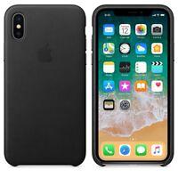 Original Apple iPhone X Ledertasche Hülle Schützend Leather Schwarz Black Neu
