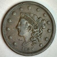 1838 Coronet Large Cent US Copper Type Coin Extra Fine Newcomb Variety N6 M8 XF