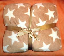 Wohndecke Sterne, Super Flausch, beige, 130x170 cm, Sofadecke,Kuscheldecke