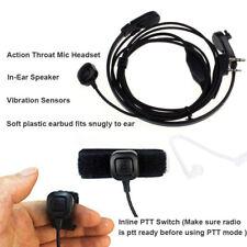 Throat Mic Earpiece Headset Finger PTT For Baofeng UV5R 888s Vibration Sensors