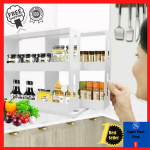Home Kitchen Spice Organizer Rack Multi function Rotating Storage Shelf Slide