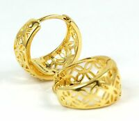 Women's 18 Carat Gold Filled Small Patterned Hoop Huggie Earrings Jewellery