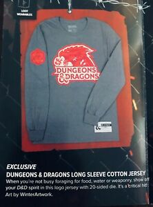 D&D Dungeons & Dragons Long Sleeve Jersey Style T-Shirt Loot Wear Gaming Crate