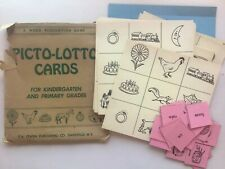 Vintage Picto-Lotto Cards Teaching Game Picture Word Bingo Pre & Primary School