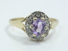Fine Vintage 1993 9K 9ct Yellow Gold Amethyst & Diamond Engagement Ring UK K