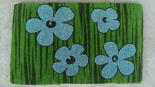 Blue Flowers - Large Thick  Impressive 100% Natural Coir Front Door Mat