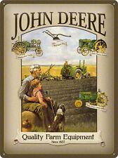 John Deere Quality Farm Blechschild - 30x40 cm geprägt - Traktor  Trecker Schild