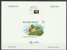 BELGIQUE OISEAUX CANARD COLVERT BIRD VÖGEL EPREUVE DELUXE DIE PROOF ESSAY **1990