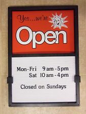 OPEN CLOSED SIGN Sliding HOURS MENU MESSAGE BOARD  Changeable LETTERS NEW