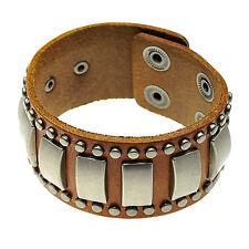 Men Woman Unisex Brown Leather Cool Punk Wide Belt Bangle Cuff Bracelet