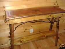 Rustic Log Black Bear Sofa Table