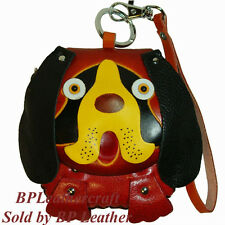 Leather Wristlet Mini Bag, Change/Coin Purse, Long Ear and Lovely Dog Face