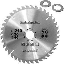 Kreissägeblatt für Holz Ø210 x30mm+2 Reduzierringe 16/20mm Z=40 HM Holzsägeblatt