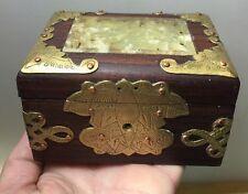 Vintage Small Asian Chinese Jewelry Trinket Box Brass Inlayed Soapstone ?