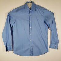 HUGO BOSS Mens Medium Button Up Shirt Blue Long Sleeve 100% Cotton