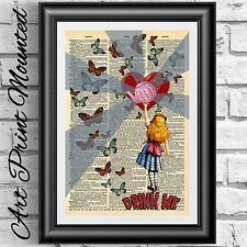 MOUNTED ART Print on DICTIONARY BOOK PAGE Alice in Wonderland drink me Upcycled>