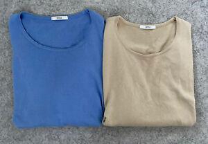 Two UK 24 Marks & Spencer Short Sleeved Knitted Sweater Jumper Tops VGC