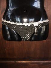 Lady Princess Black White Polka Dot Thong Panty Sissy Knickers Size 5/Small