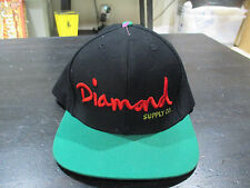 Diamond Supply Company Snap Back Hat Cap Black Green Spell Out Script Logo Mens