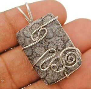 Natural Fossil Coral 925 Sterling Silver Pendant Jewelry ED26-7