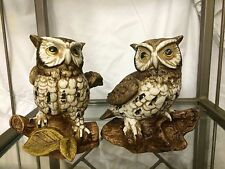 Vintage 1985 Homco Set Of 2 Porcelain Owls On Branch Figurines #1114