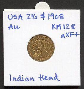 USA 2½ $ 1908 Indian Head Quarter Eagle KM#128 Gold aXF