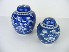 Vintage Chinese Antique Blue White Cherry Blossom Floral Ginger Jars Pair