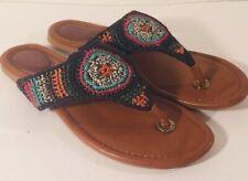 The Sak Shana Blue  Multicolor Crochet Boho Flip Flop Thong Flat Sandals 8