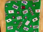 Vintage+Poker+Theme+Green+Vinyl+Plastic+Flannel+Back+4%E2%80%99x4%E2%80%99+Table+Cloth+Pre+Owned