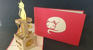 3D Pop Up Cutie Cat's Clock. (Blank Birthday, Thank you, Get well all Occasions)