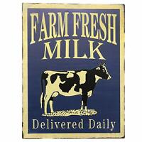 Farm Fresh Milk Delivered Daily Retro Vintage Tin Bar Sign Country Home Decor