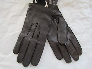 UGG Gloves Tech Smart Leather Lambswool Whip Stitch Brown XL